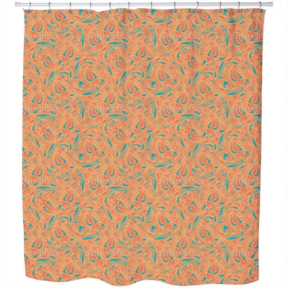 Uneekee Copper Engraving Orange Shower Curtain: Large Waterproof Luxurious Bathroom Design Woven Fabric