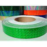 "30 ft. roll of 1"" Neon Green Metallic Holographic Hula Hoop Tape"