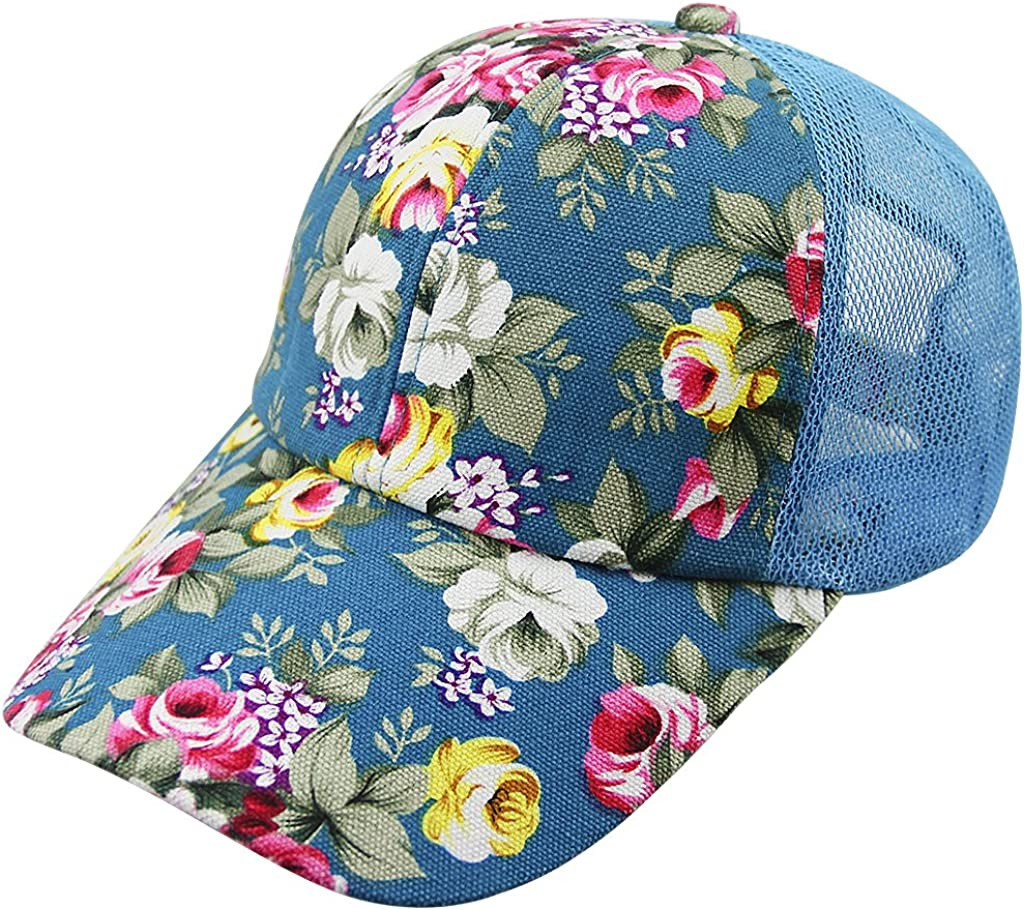 Women Ladies Flower Baseball Caps Sun Protection Large Visor Mesh Sun Caps Hats Headwear Breathable Outdoor Sports Cycling Camping Fishing Travel Tennis Golf Beach Hats Caps Topee UV50