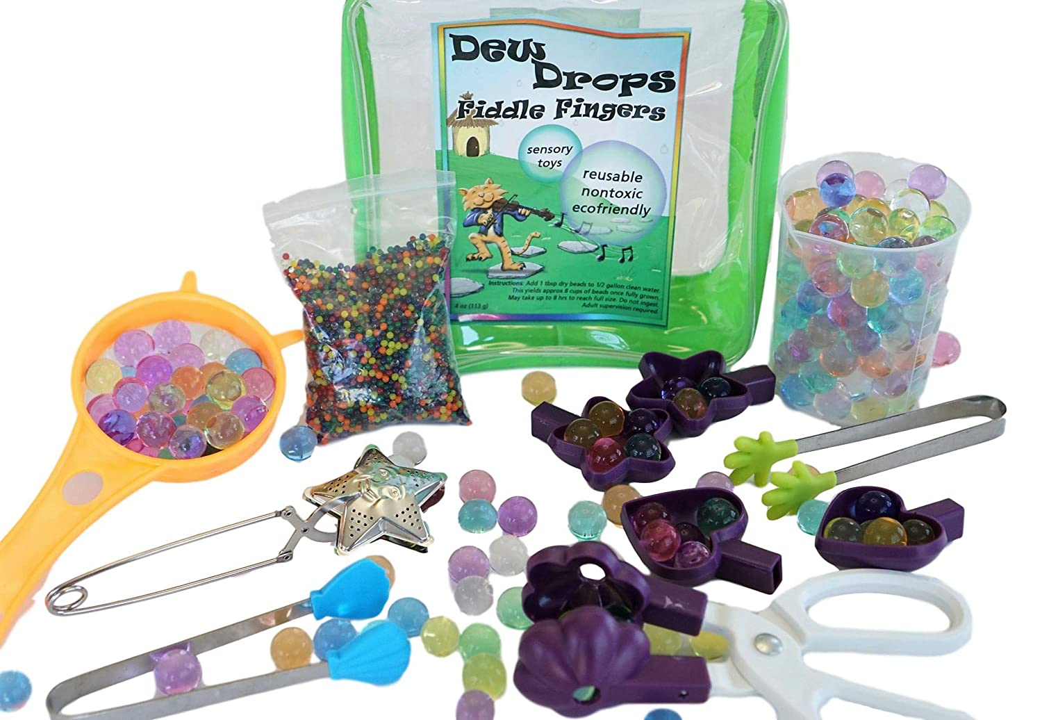 Water Beads with Fine Motor Tools Set Dew Drop Water Bead Sensory Bin Kit Kids Learning Educational Toys