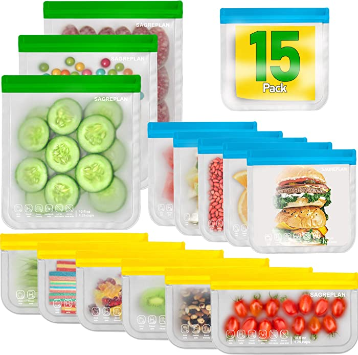 Reusable Storage Bags For Food - 15 Pack Freezer Bags | 3 Reusable Gallon Bags + 6 Reusable Sandwich Bags + 6 Reusable Snack Bags | Non Plastic/Silicone Lunch Bags For Kids