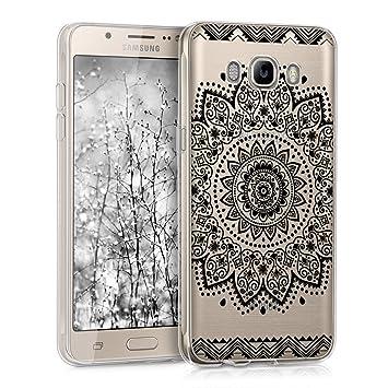 kwmobile Funda para Samsung Galaxy J5 (2016) DUOS - Carcasa de TPU para móvil y diseño de Flor en Negro/Transparente