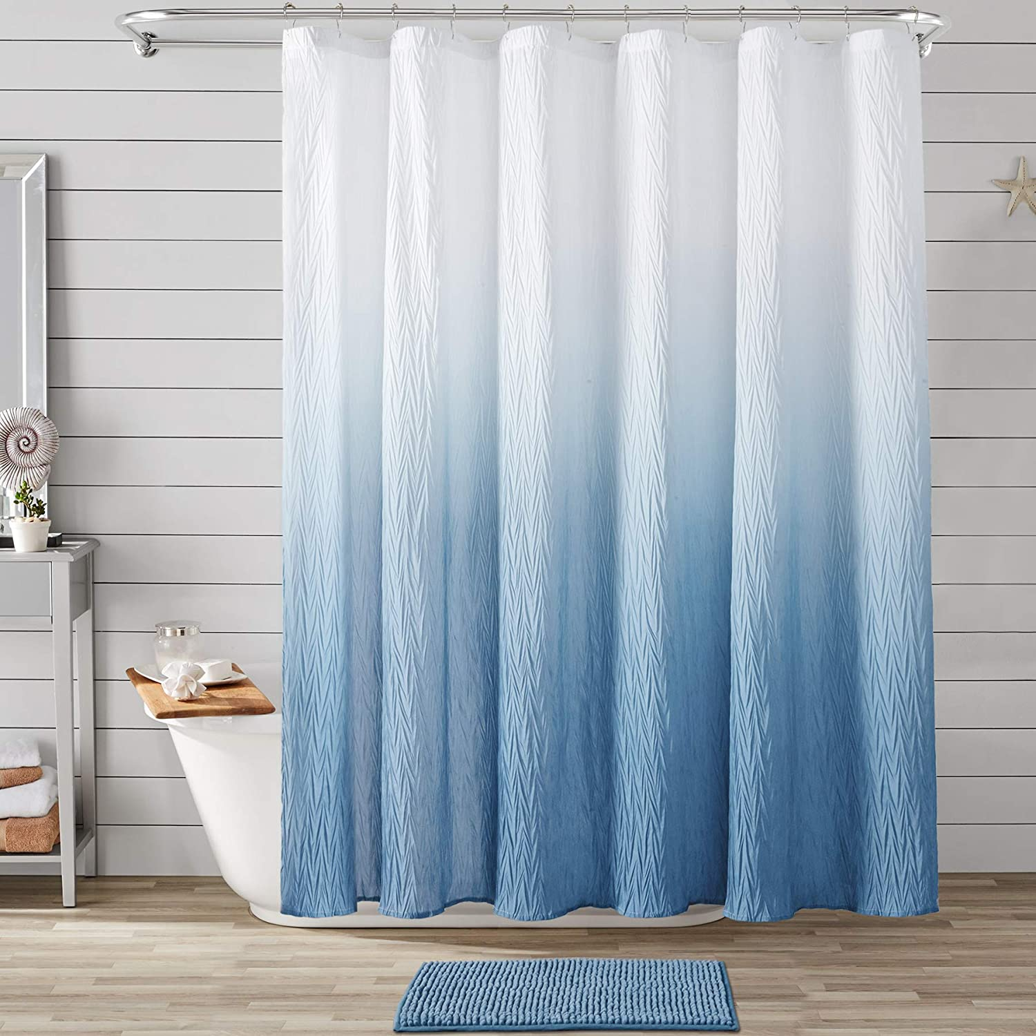 JSLOVE Ombre Textured Shower Atlanta Mall Curtain Set Bath for Bathr Mat with Now free shipping