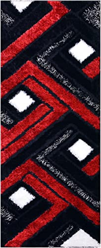 RugStylesOnline Royal Collection Black Red White Contemporary Design Shaggy Area Rug 6013 3 3 x7 Runner