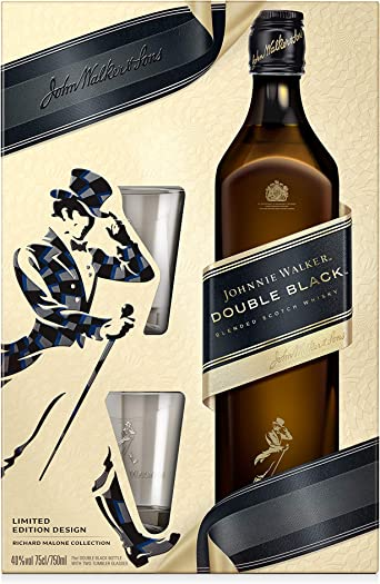 Johnnie Walker Double Black Whisky Escocés en Estuche de Regalo con dos vasos - 700 ml: Amazon.es: Alimentación y bebidas