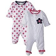 Gerber Baby Girls' 2 Pack Zip Front Sleep 'n Play,Flowers-Dots,0-3 Months