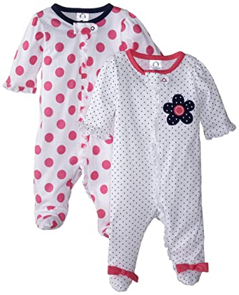 Baby Sleepwear 6 Months Gerber Baby-Girls Zip Front Sleep 'N Play, Flowers, 0-3 Months (Pack of 2)