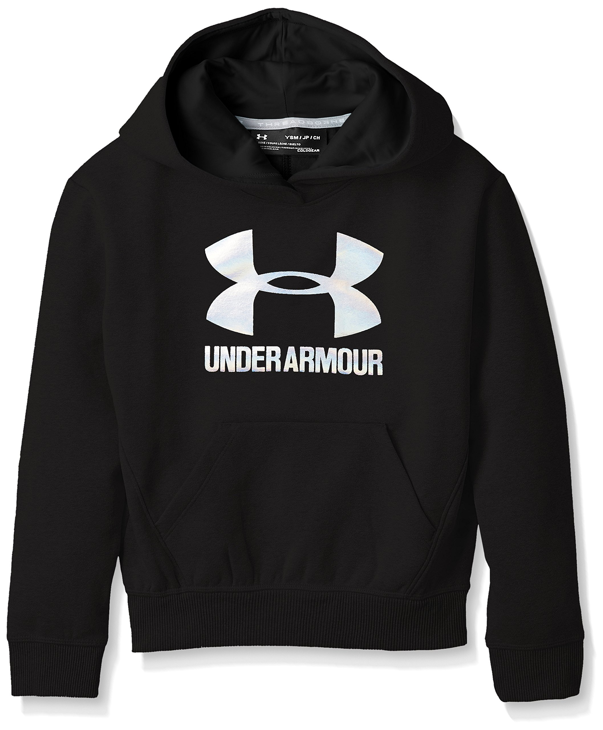 Under Armour Girls Threadborne Fleece Hoodie,Black /Silver, Youth Small