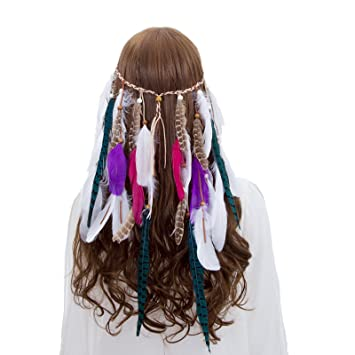 Amazon.com   AWAYTR Boho Fancy Feather Headband - Women Hippie Hairband  Festival Headwear Hair Hoop   Beauty 969097b8834d