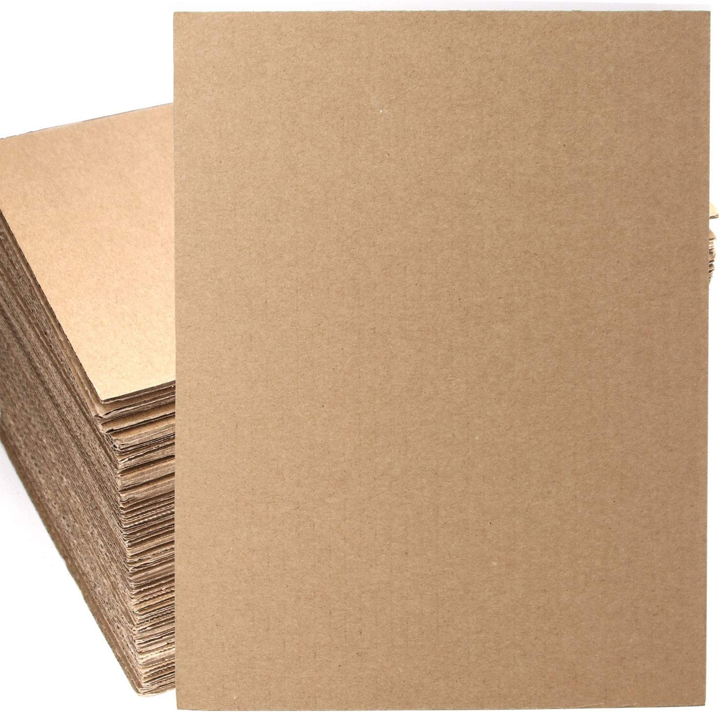 ZOENHOU 50 PCS 11 x 8.5 Inch Corrugated Cardboard Sheets, Single Wall Cardboard Inserts, Flat Cardboard Squares Separators, Packing Paper Sheets for Mailing, DIY Crafts, Art Projects and More, Brown