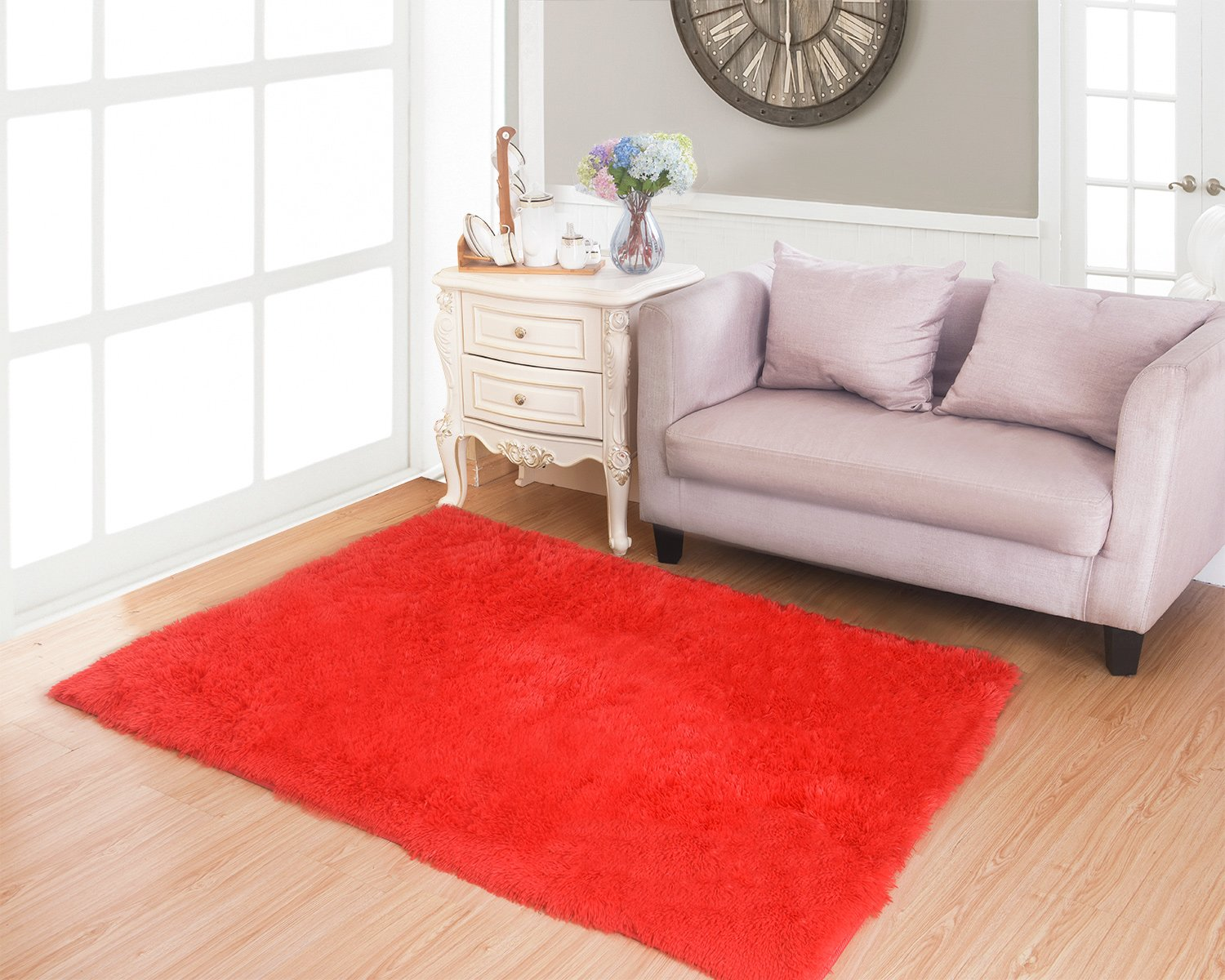 Living Room Bedroom Rugs, MBIGM Ultra Soft Modern Area Rugs Thick Shaggy Play Nursery Rug With Non-Slip Carpet Pad For Living Room Bedroom 4 Feet By 5.2 Feet, Red