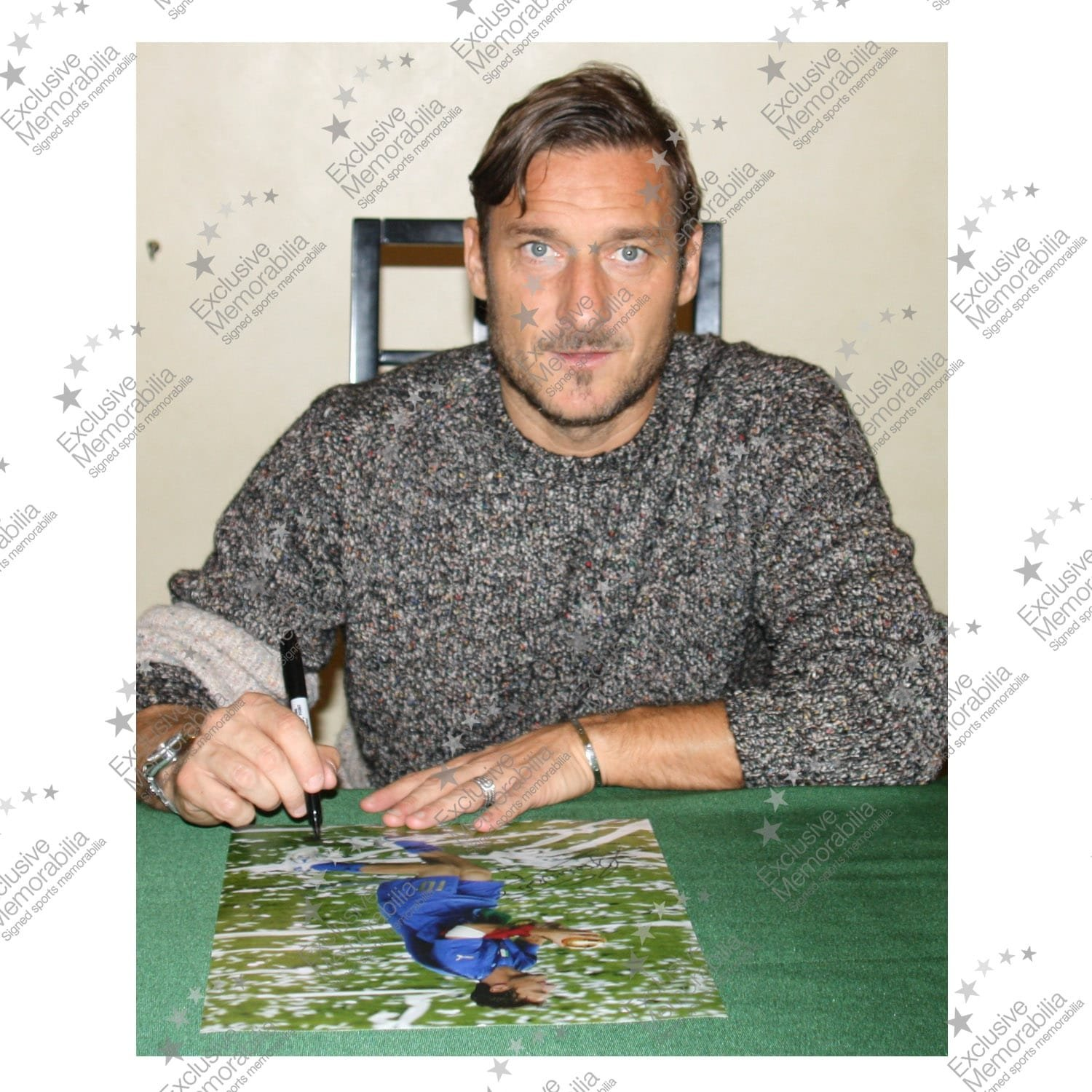 World Cup Winner In Deluxe Black Frame With Gold Inlay Francesco Totti Signed Italy Photo