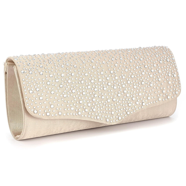 f44960c55 Bolso de Fiesta para mujer artera de Mano para Boda Salidas tipo clutch de  Saten Brillante Con Diamantes Color Champan #933: Amazon.es: Zapatos y ...