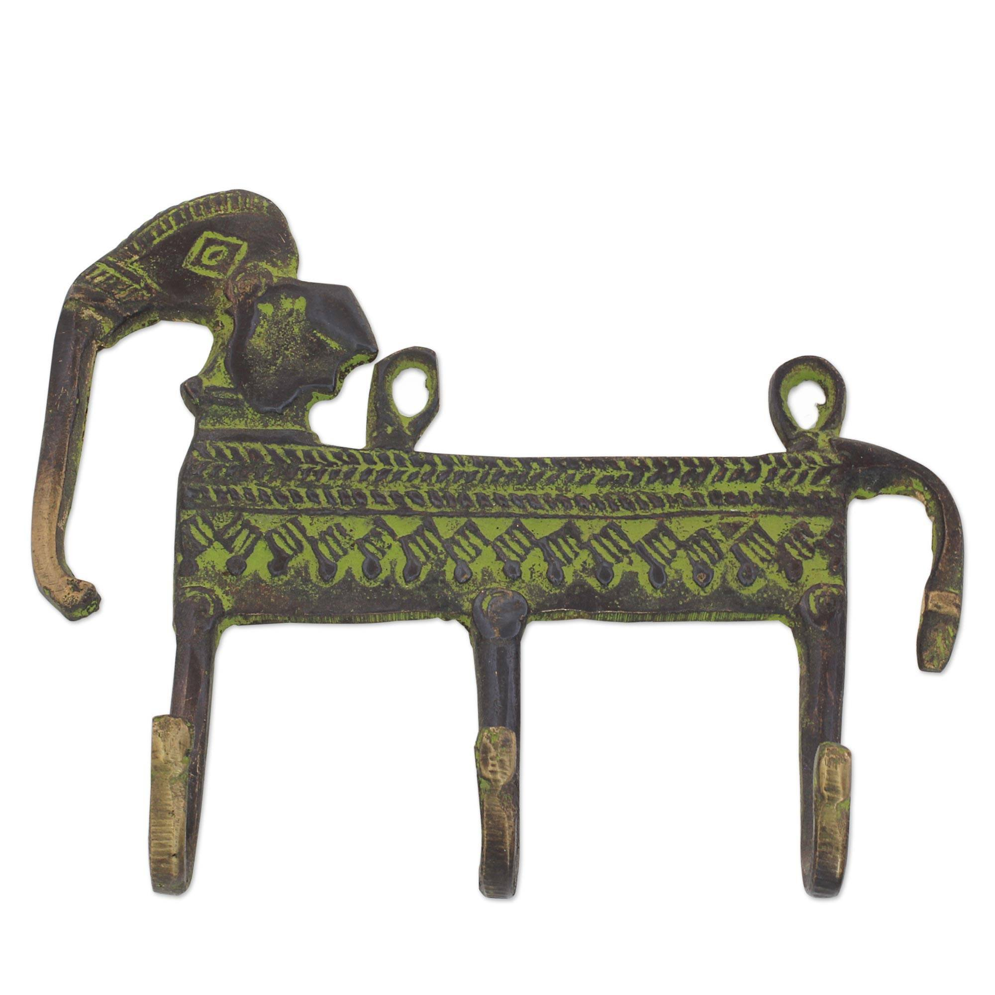 NOVICA Animal Themed Metallic Brass Wall Mounted Coat Hanger, Green, Helpful Elephant'