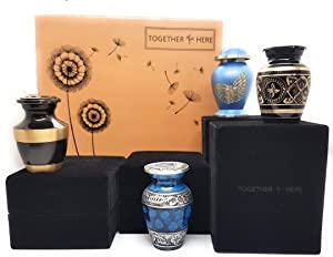 Keepsake Urns for Human Ashes Set of 4 | Each with Own Gift Box | Unique Family Mini Urn Sets | Members Choose a Small Cremation Urn | Memorial Gifts for Loss of Loved One, Adult, Child, Baby, Pet