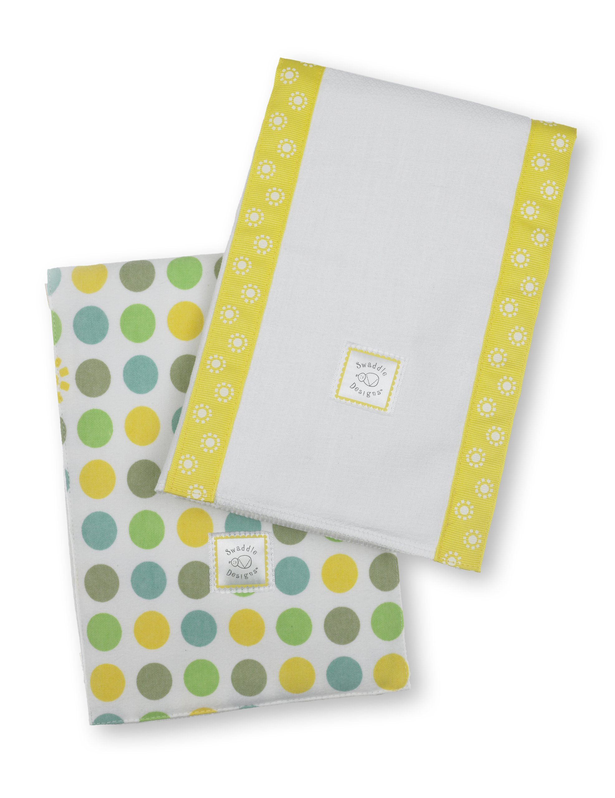 SwaddleDesigns Baby Burpies, Set of 2 Cotton Burp Cloths, Dots and Suns, Yellow