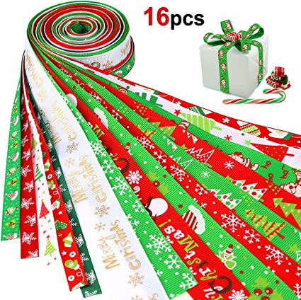 Red Grosgrain Ribbon Merry Xmas Tree Gifts Decorations for Gift or Hair-bows