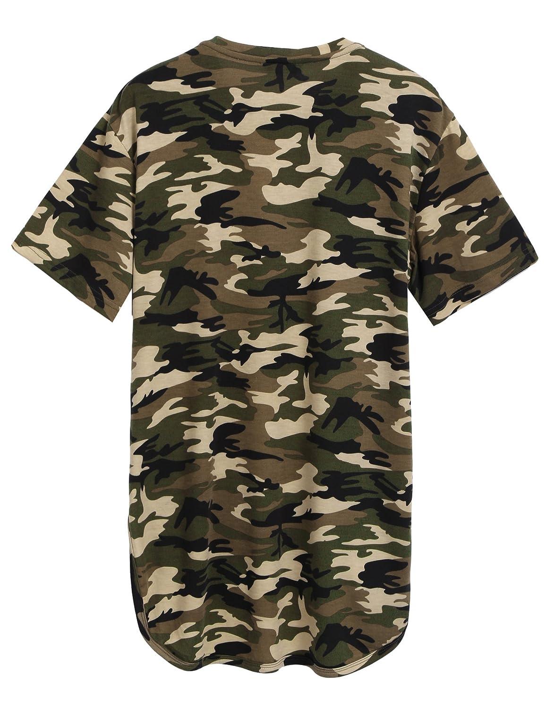 33ee1ef31 Amazon.com: COOFANDY Men's Hipster Hip Hop V Neck T Shirts Short Sleeve Aztec  Graphic Print Longline T-Shirt: Clothing
