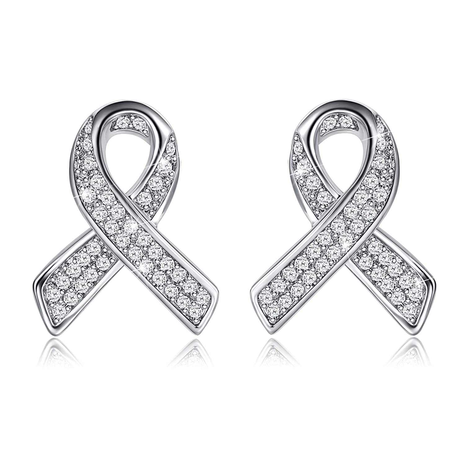 Long Way Silver Plated 5A Cubic Zirconia Cancer Awareness Ribbon Stud Earrings