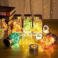 GIGALUMI Solar Multicolor Mason Jar Lights - 6 Pack 30 LEDs Fairy String Lights Hanging Solar Lanterns Table Lights…