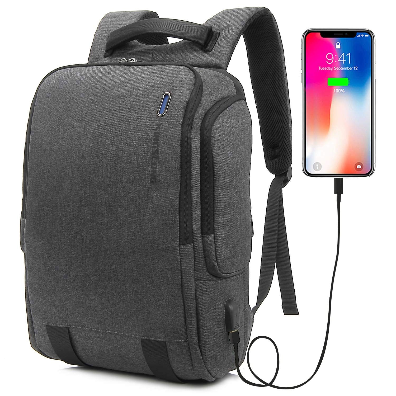 Business Laptop Backpack, KINGSLONG Large Travel Backpack with USB Charging Port Durable Water Resistant 17.3 Inch Computer backpacks for Women Men, Casual Hiking Travel Daypack Gray