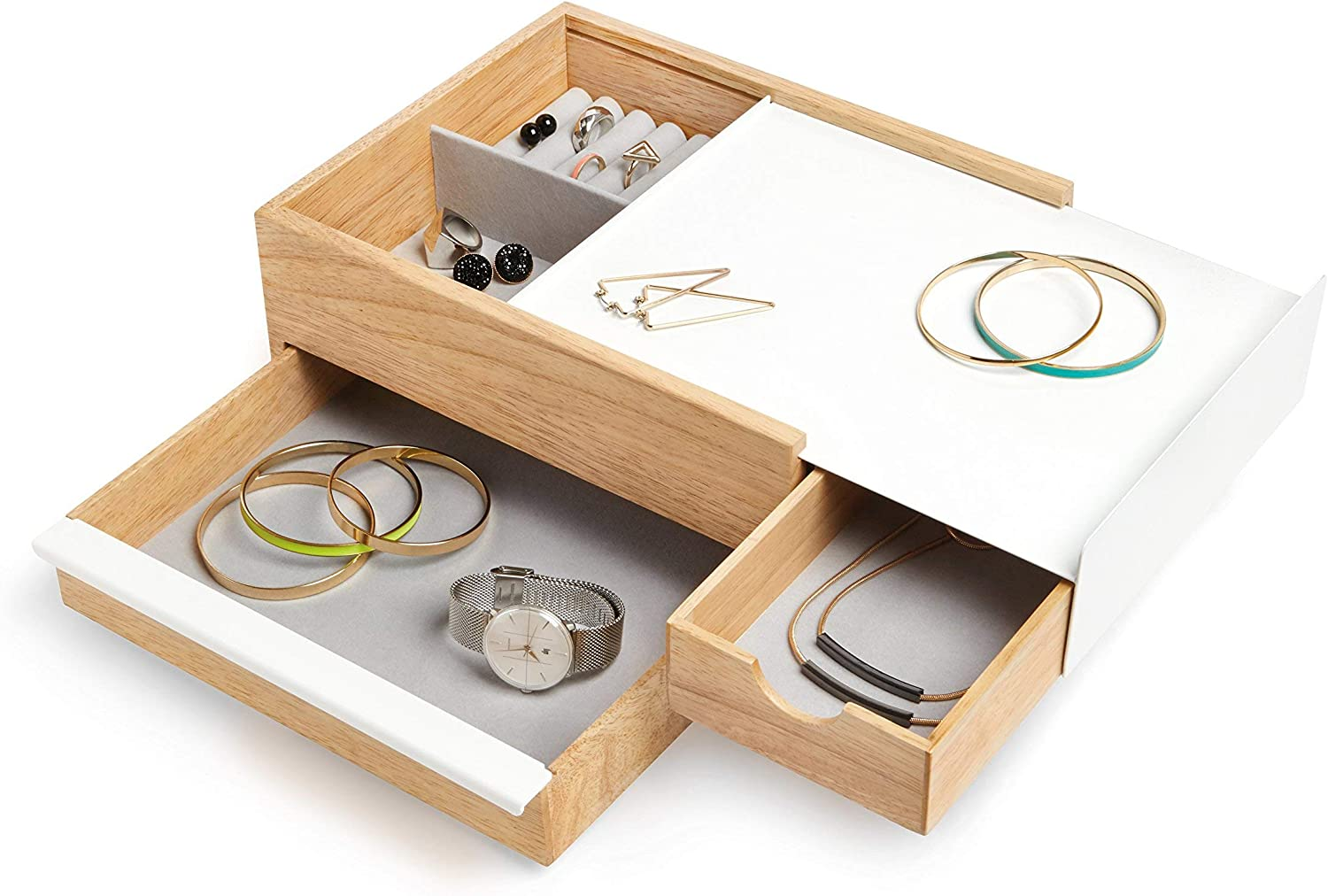 Umbra Stowit Jewelry Box - Modern Keepsake Storage Organizer with Hidden Compartment Drawers for Ring, Bracelet, Watch, Necklace, Earrings, and Accessories (White / Natural)