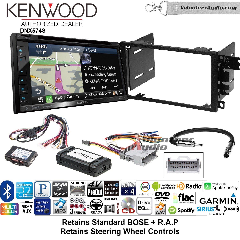 Kenwood dnx574sダブルDINラジオインストールキットwith GPSナビゲーションApple CarPlay Android自動Fits 2003 – 2005シボレーブレザー、2003 – 2006 Silverado、サバーバンBose ( and SWC ) B07C28JSRX