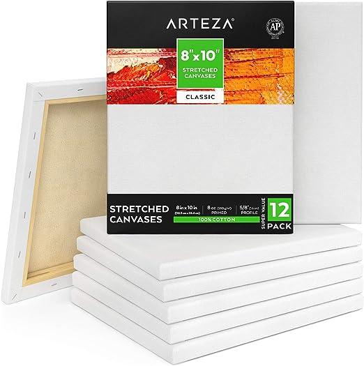 Arteza Lienzo para pintar cuadros | 20,32 x 25,4 cm | Pack de 12 ...