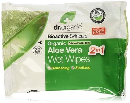 Dr.Organic Toallitas húmedas Aloe Vera,1 paquete de 20 piezas