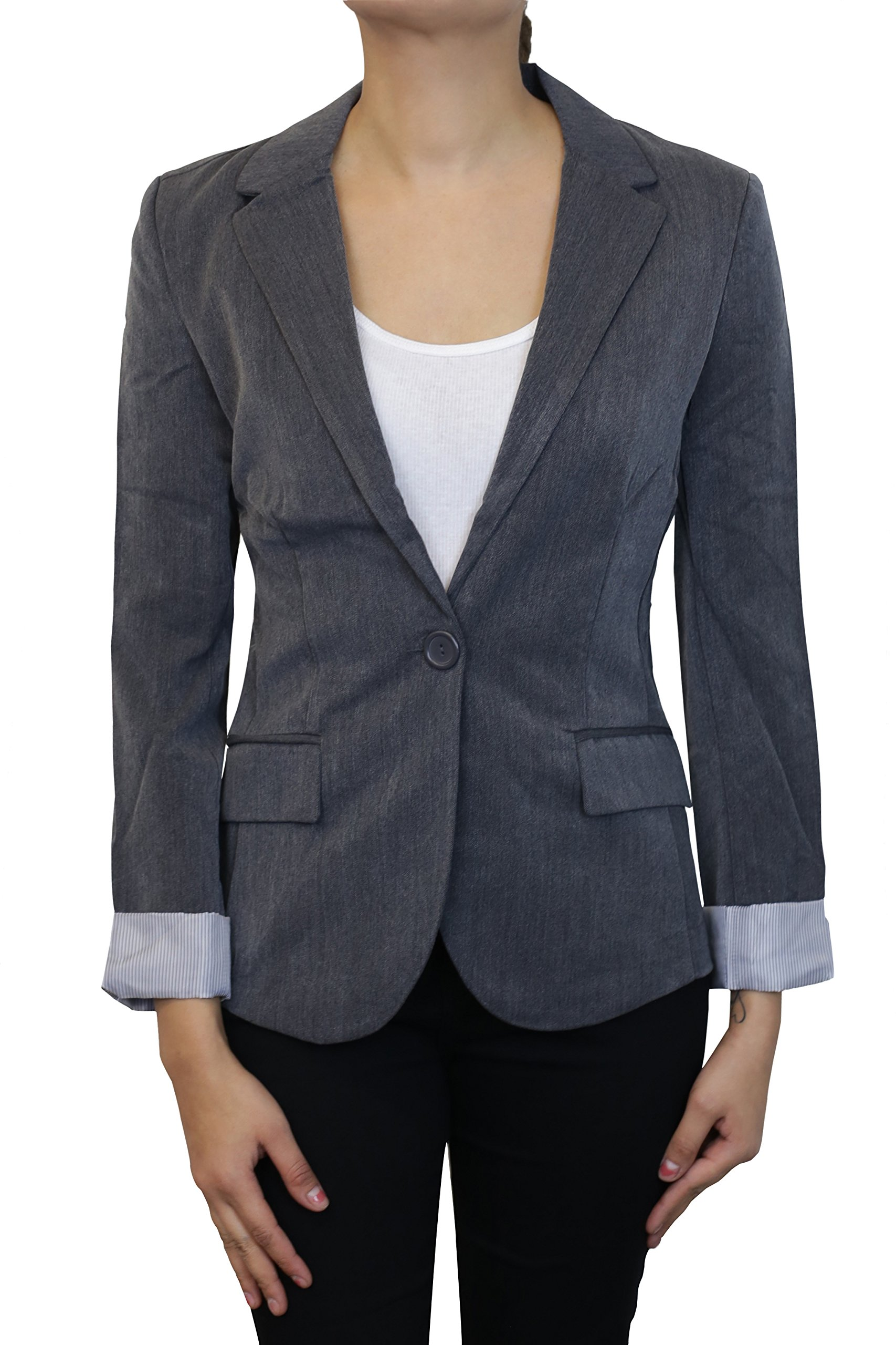 Instar Mode Women's Versatile Business Attire Blazers in Varies Styles (B22117 Charcoal, Large)