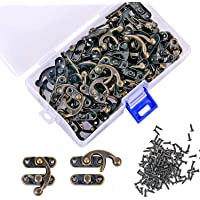 PGMJ 40 Pieces Bronze Tone Antique Right Latch Hook Hasp Horn Lock Wood Jewelry Box Latch Hook Clasp and 160 Replacement…