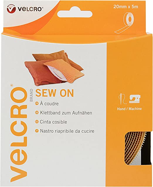 VELCRO® Brand Iron On Tape Fabric Hook /& Loop White 20mm x 1m to 10m
