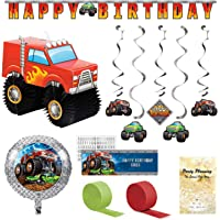 Monster Truck Party Decorations, 7 Pieces, Centerpiece, Customizable Banner, Happy Birthday Banner, Hanging Cutouts, Balloon and Streamers