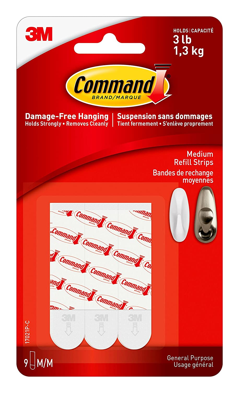 Command 17002C Utility Hooks, Small, White, 2 Hooks 4 Small Strips 70071204047 Office Supplies Storage Accessories