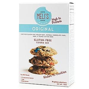 Meli's Monster Cookies, Original Flavor Cookie Mix, Certified Gluten-free, Gluten-Free Cookies, Rolled Oats, Chocolate Chip, Peanut Butter, M&M's High Protein Baking Recipe, Kosher (16oz Box)