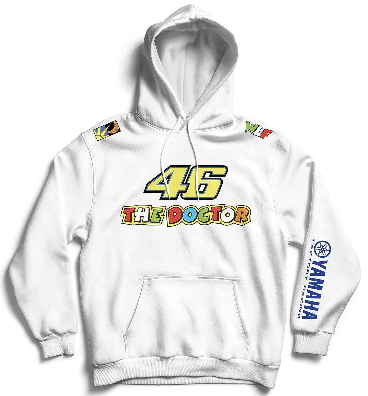 Felpa con Cappuccio E TASCONE Ispirata Yamaha Factory Racing AKRAPOVIC MOVISTAR Michelin Moto GP Valentino Rossi Vale 46 The Doctor Non Ufficiale