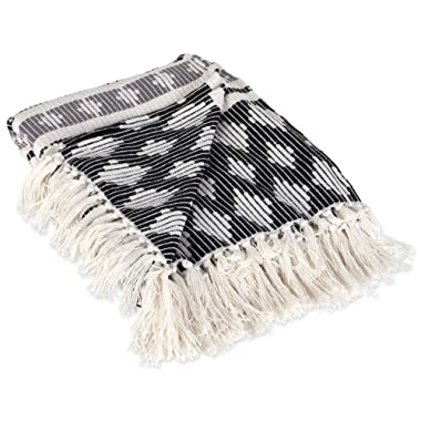 DII Classic Colby Southwest Cotton Handwoven Stripe Blanket Throw with Fringe for Chair, Couch Picnic, BBQ, Camping, Beach 50 x 60 Black & Gray