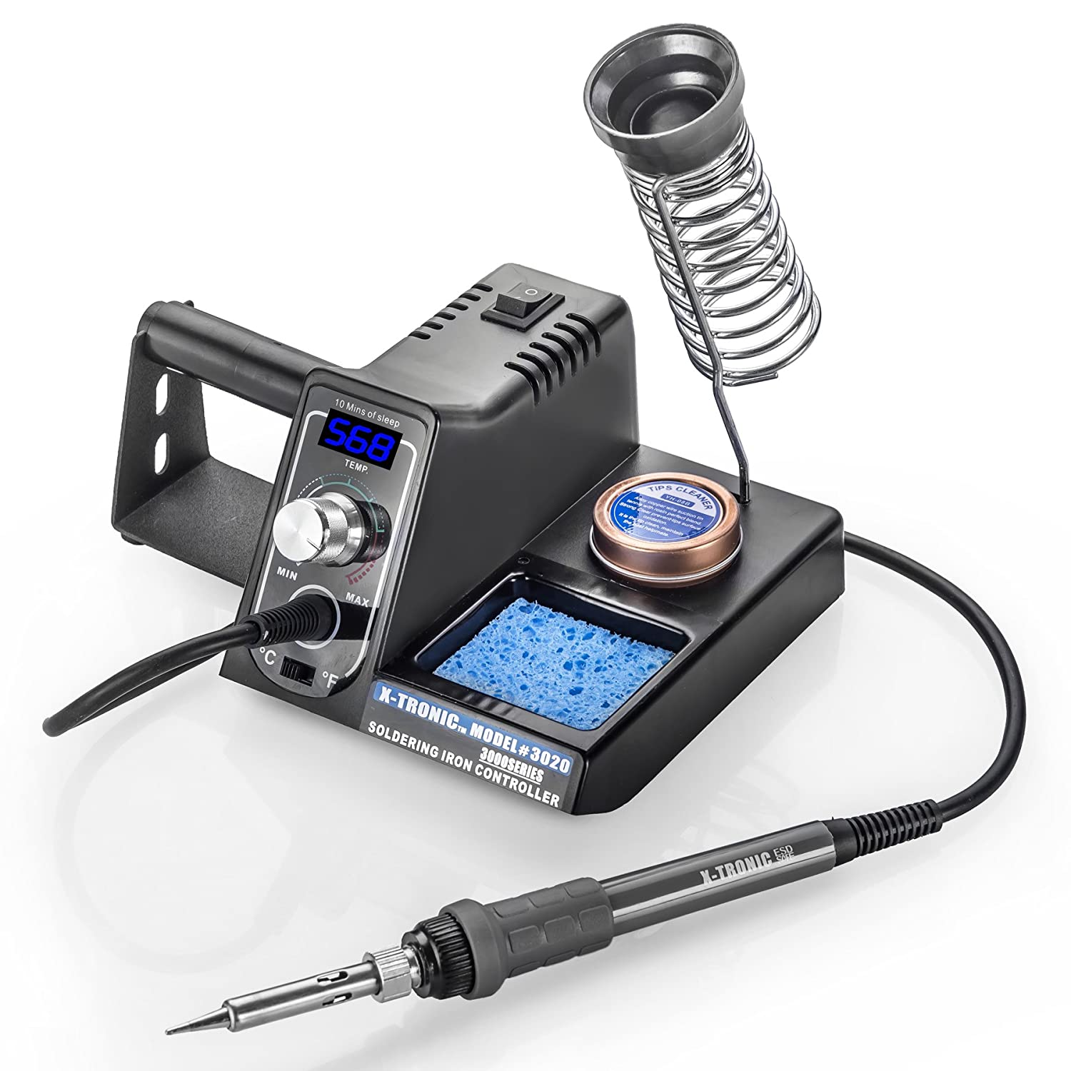 Picture of the X Tronic 3020 XTS Model Soldering Iron Station, showing both the stand and the pencil.