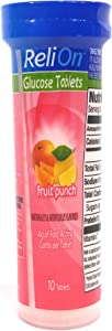 ReliOn Glucose Fruit Punch, 10 Tablets, On-The-Go Tube.
