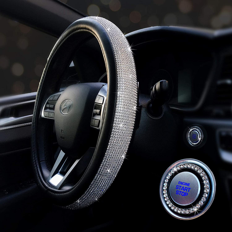 15/'/' 38cm Black Crystal Car Steering Wheel Cover w// Bling Rhinestone PU Leather