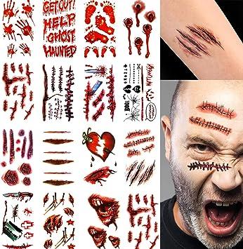 Tatuaggi temporanei 30 Fogli realistici Halloween cicatrici di Zombie ferite Tatuaggi sanguinamento Falso Cicatrice sanguinante ferita Adesivi scabbia per Halloween Cosplay Party