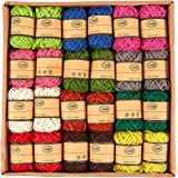 24-Roll Set of Jute Twine - Natural Twine Rope, Jute String, Twine String for DIY Crafts, Decoration, Embellishments, Assorted Colors - 11 Yards Per Roll