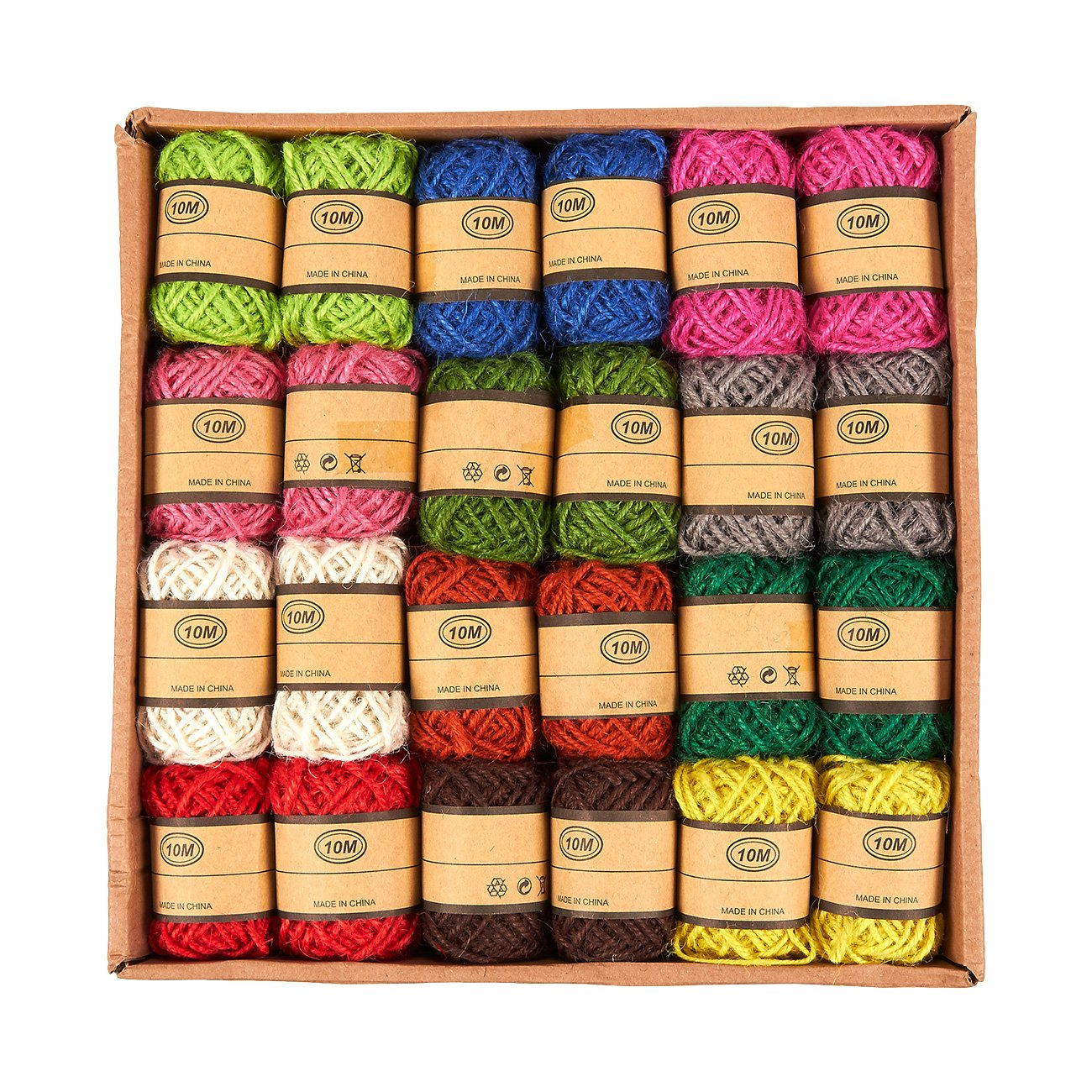 24-Roll Set of Jute Twine - Natural Twine Rope, Jute String, Twine String for DIY Crafts, Decoration, Embellishments, Random Assorted Colors - 11 Yards Per Roll by Juvale