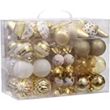 Sea Team 81-Pack Assorted Shatterproof Christmas Ball Ornaments Set Decorative Baubles Pendants with Reusable Hand-held Gift Package for Xmas Tree (Gold)