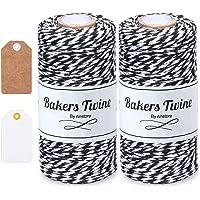 Anstore Zwart en wit touw, 200M katoenen bakkers touw ambachtelijke katoenen draad duurzame string voor bakken…