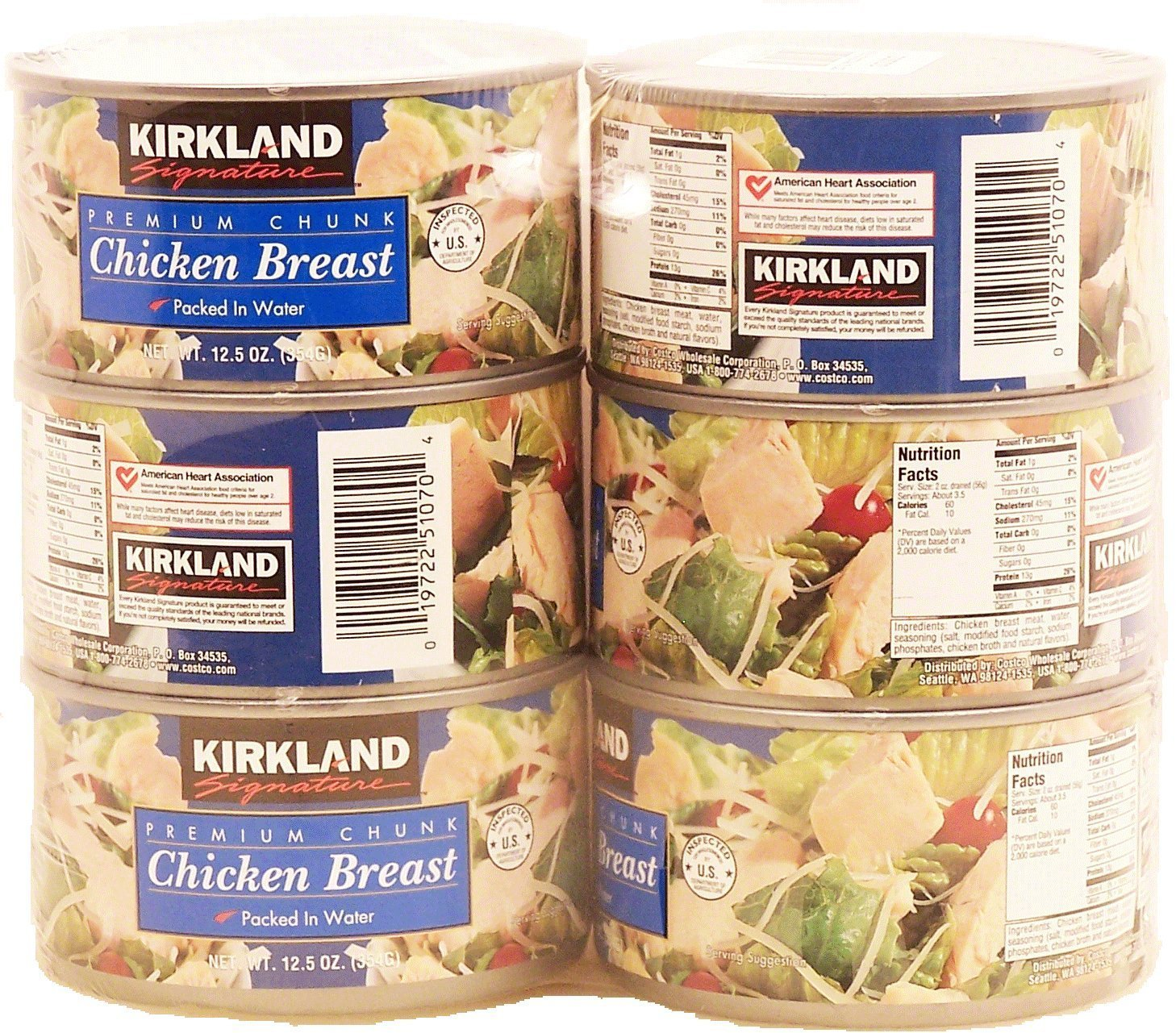 Kirkland Signature Premium Chunk Chicken Breast Packed in Water, 12.5 Ounce, 6 Count by Kirkland Signature