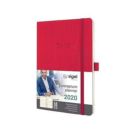 SIGEL C2034 Agenda semanal 2020 Conceptum, tapa blanda 13,5 x 21 cm, rojo