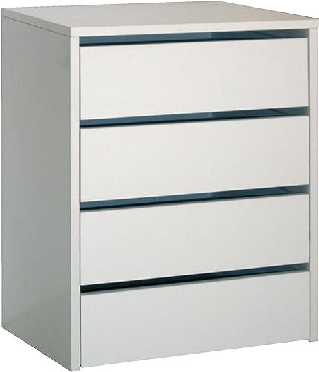 Cajonera de armario color blanco brillo, 4 cajones, mueble auxiliar para almacenamiento extra. 61cm altura x 46cm ancho x 45cm fondo: Amazon.es: Hogar