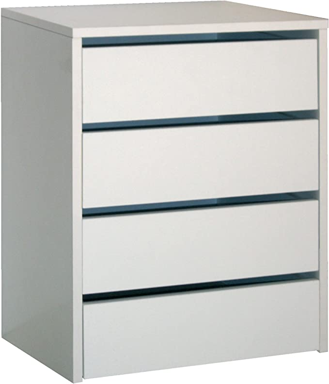 Cajonera de armario color blanco brillo, 4 cajones, mueble ...