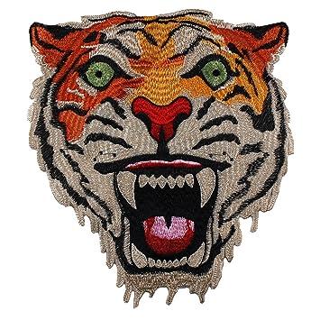 1 pieza de cabeza de león bordado insignias de tela parches Applique coser en álbumes de